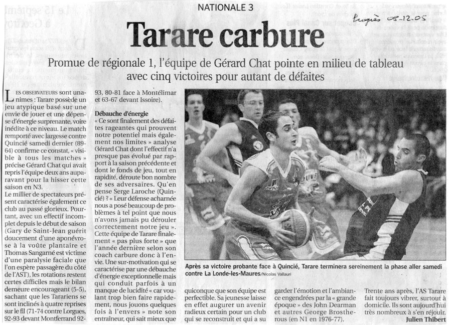 Article post Tarare-Quincié (Progrès 08-12-2005)